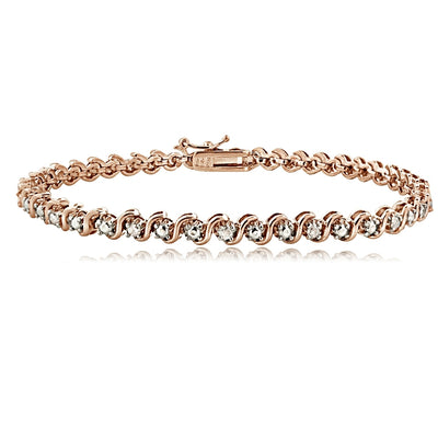 18K Rose Gold Tone 0.25ct TDW Natural Diamond S Design Tennis Bracelet