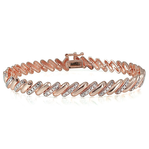 Genuine Diamond Accent San Marco Tennis Bracelet in Rose Gold Plated Brass