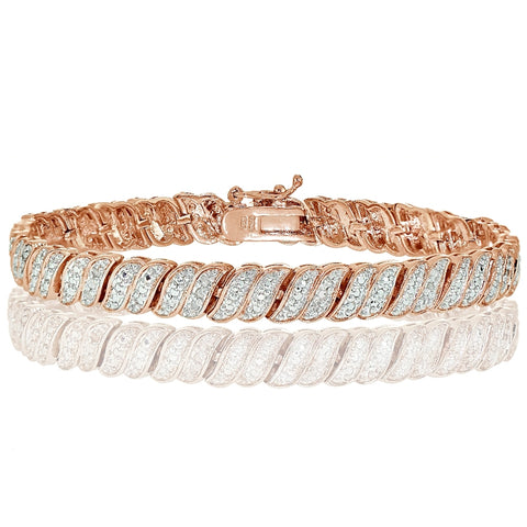 Rose Gold Tone 0.25ct Diamond Wave Link Tennis Bracelet