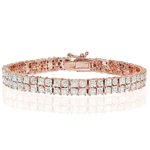 Rose Gold Tone 0.25ct Diamond Miracle Set 2-Row Tennis Bracelet