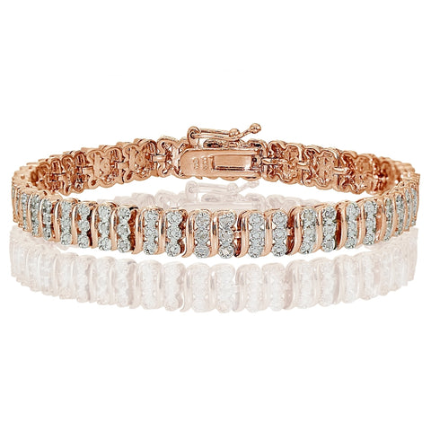 Rose Gold Tone 0.25ct  Diamond S Pattern Tennis Bracelet