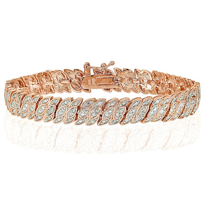 Rose Gold Tone 1 Carat Diamond Leaf Tennis Tennis Bracelet