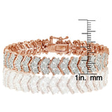 Rose Gold Tone 1.00ct Diamond Miracle Set Chevron Tennis Bracelet