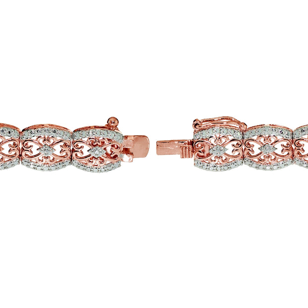 Rose Gold Tone 0.25ct Diamond Filigree Tennis Bracelet