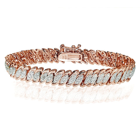 Rose Gold Tone  Diamond Accent Marquise S Tennis Tennis Bracelet