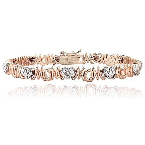 Genuine Diamond Accent Heart and MOM Tennis Bracelet in Rose Gold Tone