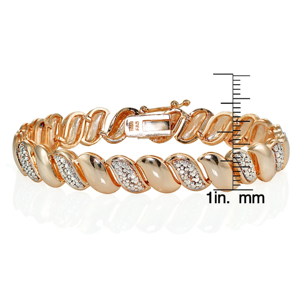 Genuine Natural Diamond Accent San Marco Tennis Bracelet in Rose Gold Tone