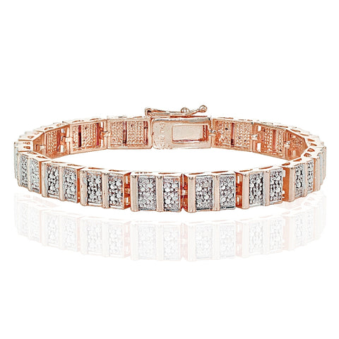 Genuine Diamond Accent Rectangle and Bar Tennis Bracelet in Rose Gold Tone