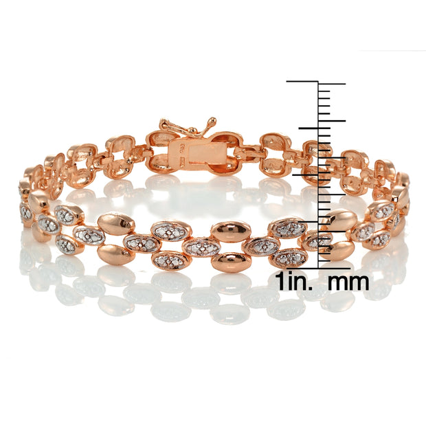 Genuine Diamond Accent Oval Link Tennis Bracelet in Rose Gold Tone