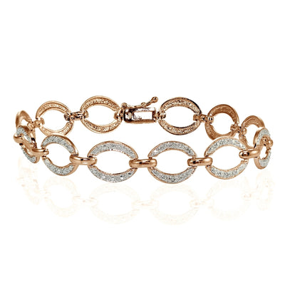 Genuine Diamond Accent Circle and Bar Tennis Bracelet in Rose Gold Tone
