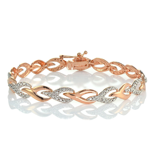 Genuine Diamond Accent Swirl Link Tennis Bracelet in Rose Gold Tone