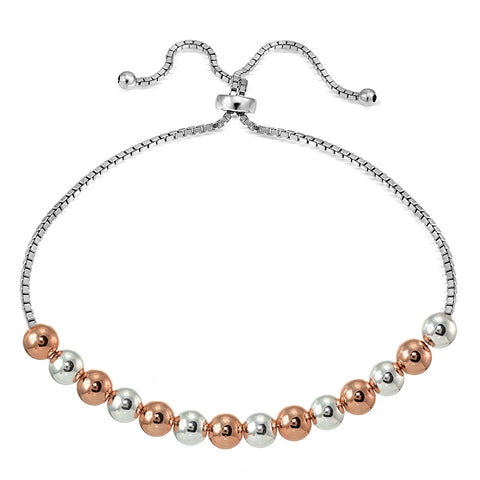 Rose Gold Flashed Sterling Silver Two Tone 6mm Bead Adjustable Bracelet