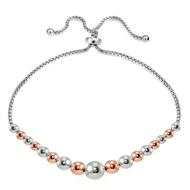 Rose Gold over Sterling Silver Two Tone Graduated Bead Adjustable Bracelet