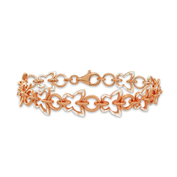 Two-Tone Rose Gold Flashed Sterling Silver Nature Butterfly Diamond-Cut Charm Link Bracelet
