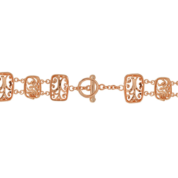 Two-Tone Rose Gold Flashed Sterling Silver Filigree Swirl Diamond-Cut Link Bracelet