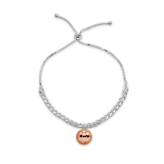 Two-Tone Rose Gold Flashed Sterling Silver Polished Ball Bead Station Wheat Spiga Chain Adjustable Bolo Bracelet