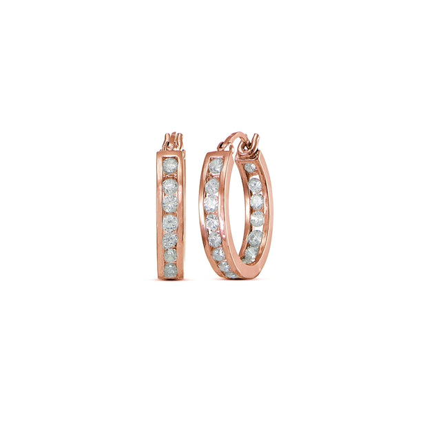 Rose Gold Flashed Cubic Zirconia Inside-Out Channel-Set Small 15mm Round Hoop Earrings