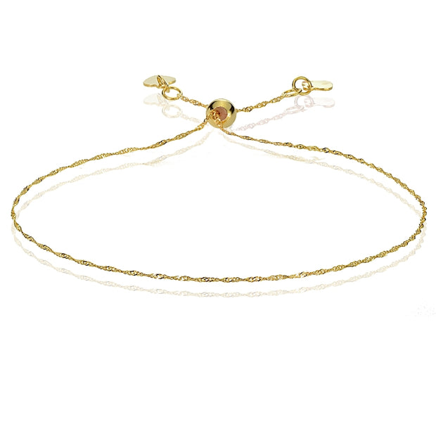 14K Yellow Gold .9mm Singapore Adjustable Italian Chain Bracelet, 7-9 Inches