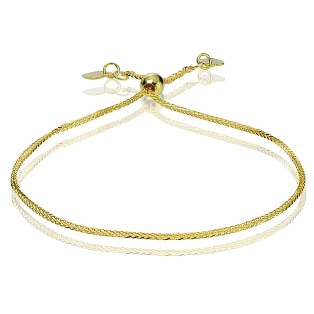14K Yellow Gold .8mm Spiga Wheat Adjustable Italian Chain Bracelet, 7-9 Inches
