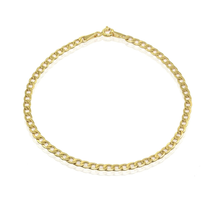 14K Gold Thin Cuban Curb Link Chain Bracelet, 7.25 Inches