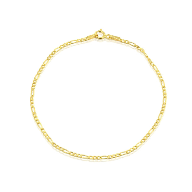 14K Gold Dainty Thin .4mm Figaro Link Chain Bracelet, 7.25 Inches