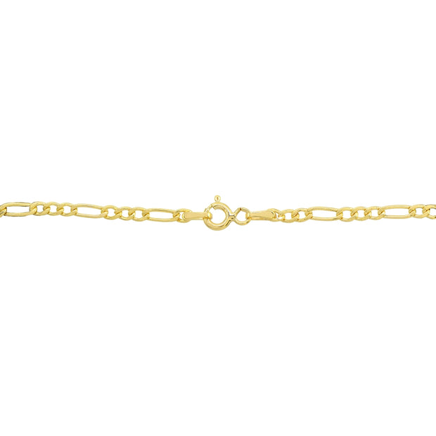 14K Gold Dainty Thin .6mm Figaro Link Chain Bracelet, 7.25 Inches