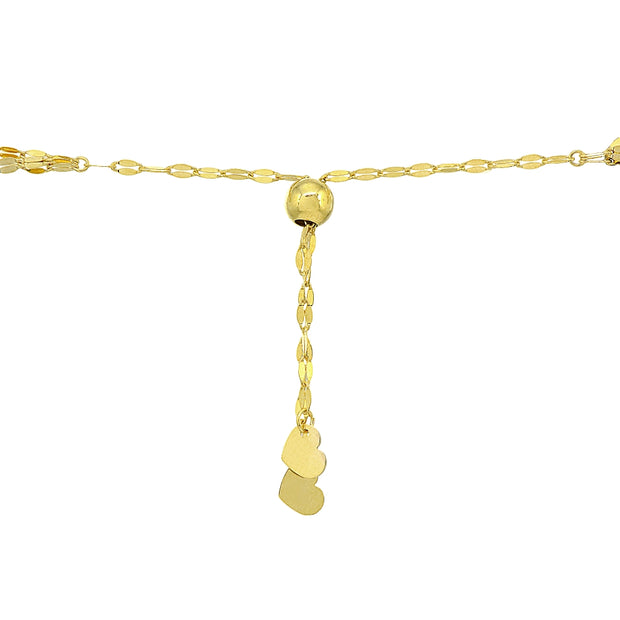 14K Gold Chain Triple Mariner Italian Adjustable Bracelet