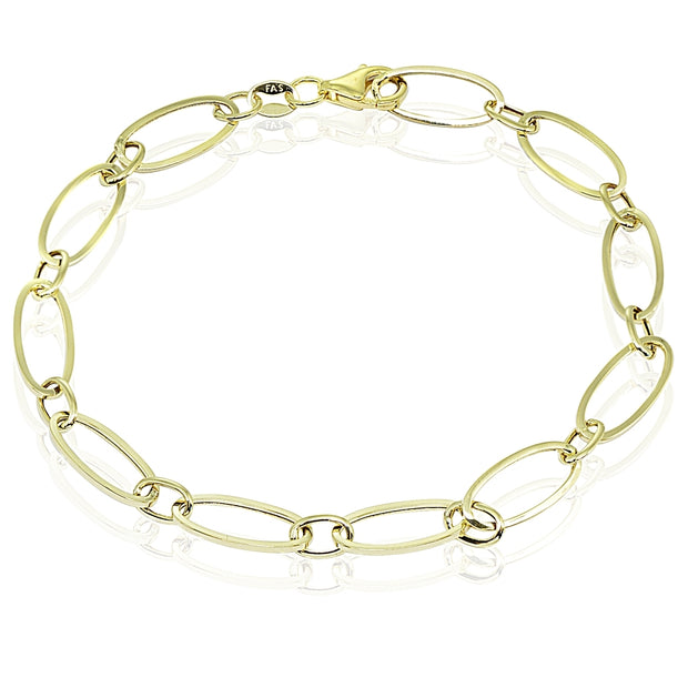 14k Gold Italian Lightweight Thin Oval Chain Link Bracelet