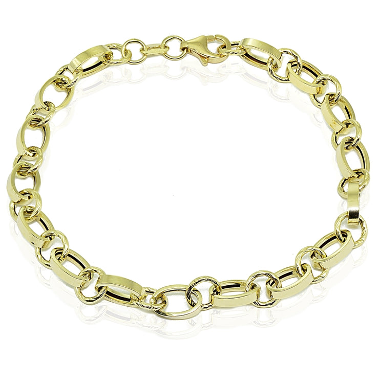 14k Gold Italian Lightweight Oval and Round Chain Link Bracelet
