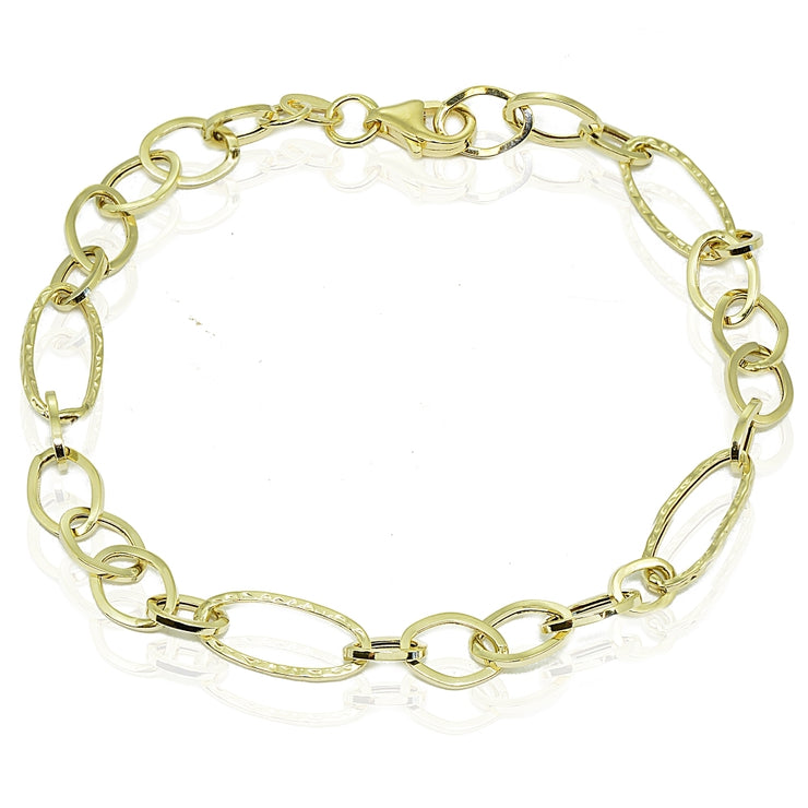 14k Gold Italian Lightweight Hammered and Polished Thin Oval Chain Link Bracelet