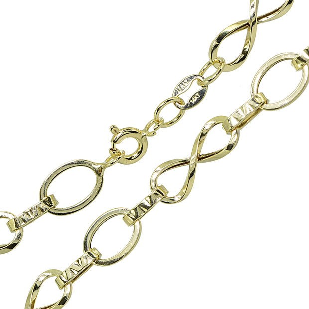 14k Gold Italian Lightweight Infinity Twist Oval and Bar Chain Link Bracelet