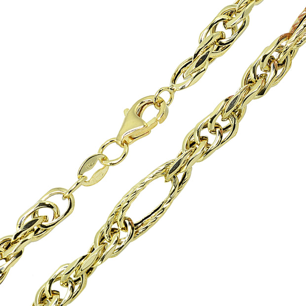 14k Gold Italian Lightweight Chain Intertwing Oval Double Link Bracelet