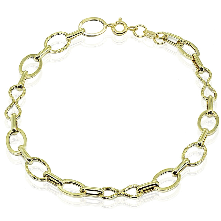 14k Gold Italian Lightweight Infinity Oval and Bar Chain Link Bracelet