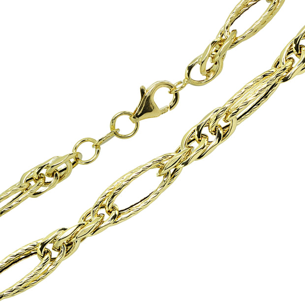 14k Gold Italian Lightweight Chain Oval Double Link Bracelet