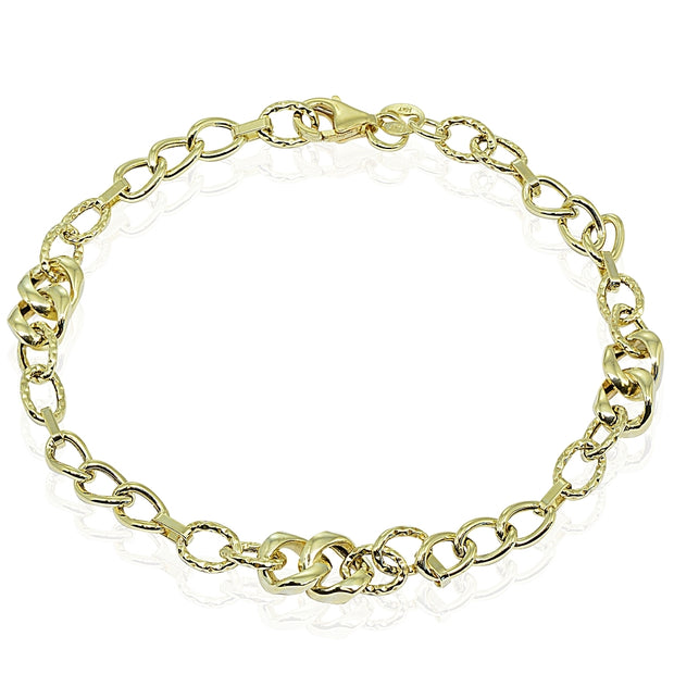 14k Gold Italian Lightweight Intertwining Links and Bar Chain Link Bracelet