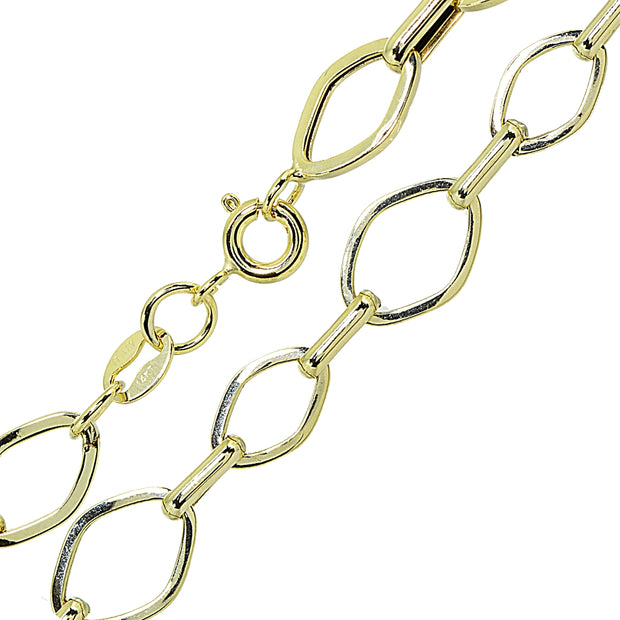 14K Gold Italian Lightweight Thin Geometric and Bar Chain Link Bracelet