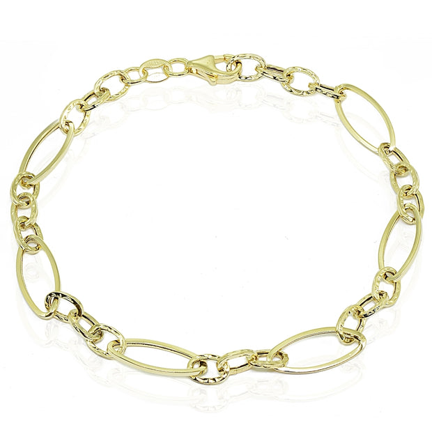 14K Gold Italian Lightweight Marquise Oval and Bar Chain Link Bracelet