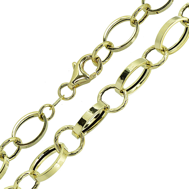 14K Gold Italian Lightweight Hammered Round & Polished Oval Chain Link Bracelet