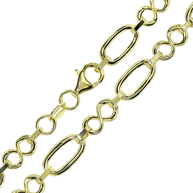 14K Gold Italian Lightweight Polished Infinity Oval and Bar Chain Link Bracelet