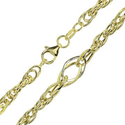 14k Gold Italian Lightweight Chain Double Geometric & Oval Link Bracelet