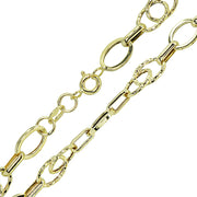 14K Gold Italian Lightweight Oval and Bar Chain Link Bracelet