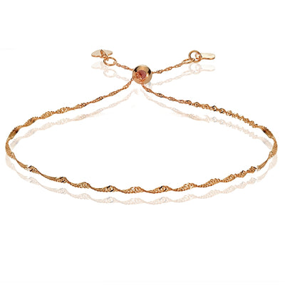 14K Rose Gold 1.4mm Singapore Adjustable Italian Chain Bracelet, 7-9 Inches