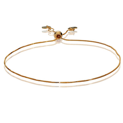 14K Rose Gold Box Adjustable Italian Chain Bracelet, 7-9 Inches