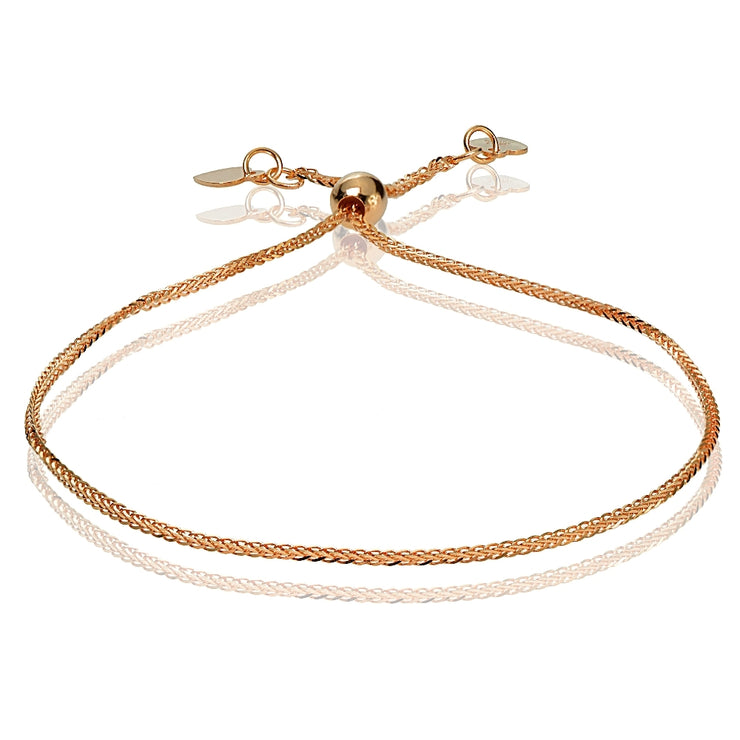 14K Rose Gold .8mm Spiga Wheat Adjustable Italian Chain Bracelet, 7-9 Inches