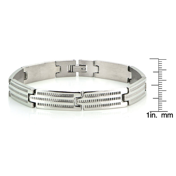 Stainless Steel Textured Link Classic Mens Bracelet