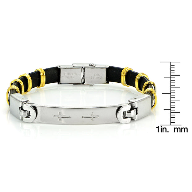 Stainless Steel Two Tone Rubbrty Cross ID Mens Bracelet
