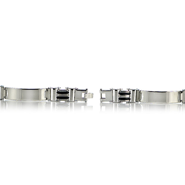 Stainless Steel Black Inlay Fashion ID Link Mens Bracelet