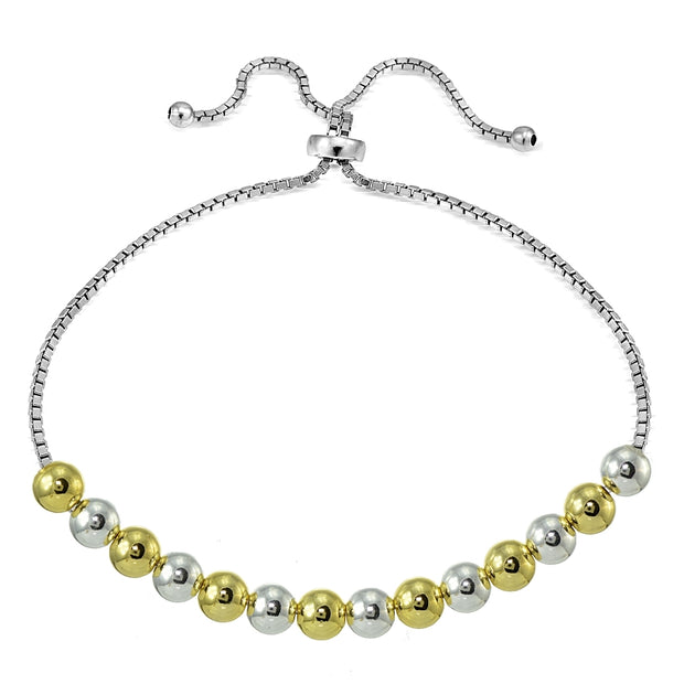 Sterling Silver Two-Tone 6mm Bead Adjustable Bracelet