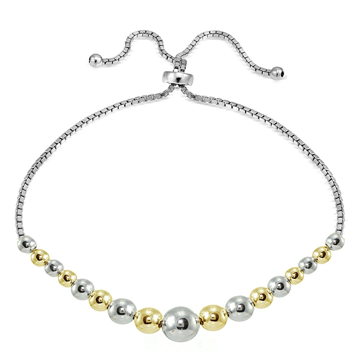 Sterling Silver Two-Tone Graduated Bead Adjustable Bracelet