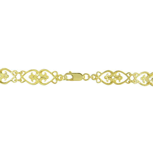 Two-Tone Yellow Gold Flashed Sterling Silver Filigree Hearts Diamond-Cut Link Bracelet